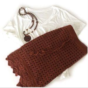 Anthro Nick & Mo Rust Crochet Skirt